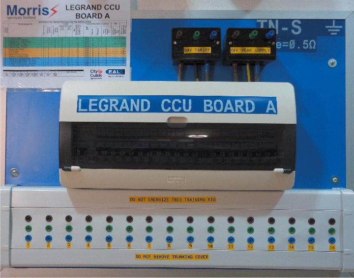 Legrand CCU Board A is used at Morris Services Limited to provide practical training and verification of earth fault loop impedance of final circuits and R1 + R2 measurred valueds on the City & Guilds 2394-01 Level 3 Initial Verification Course and the new EAL 7695 Level 3 Electrical Qualiifed Supervisors course.