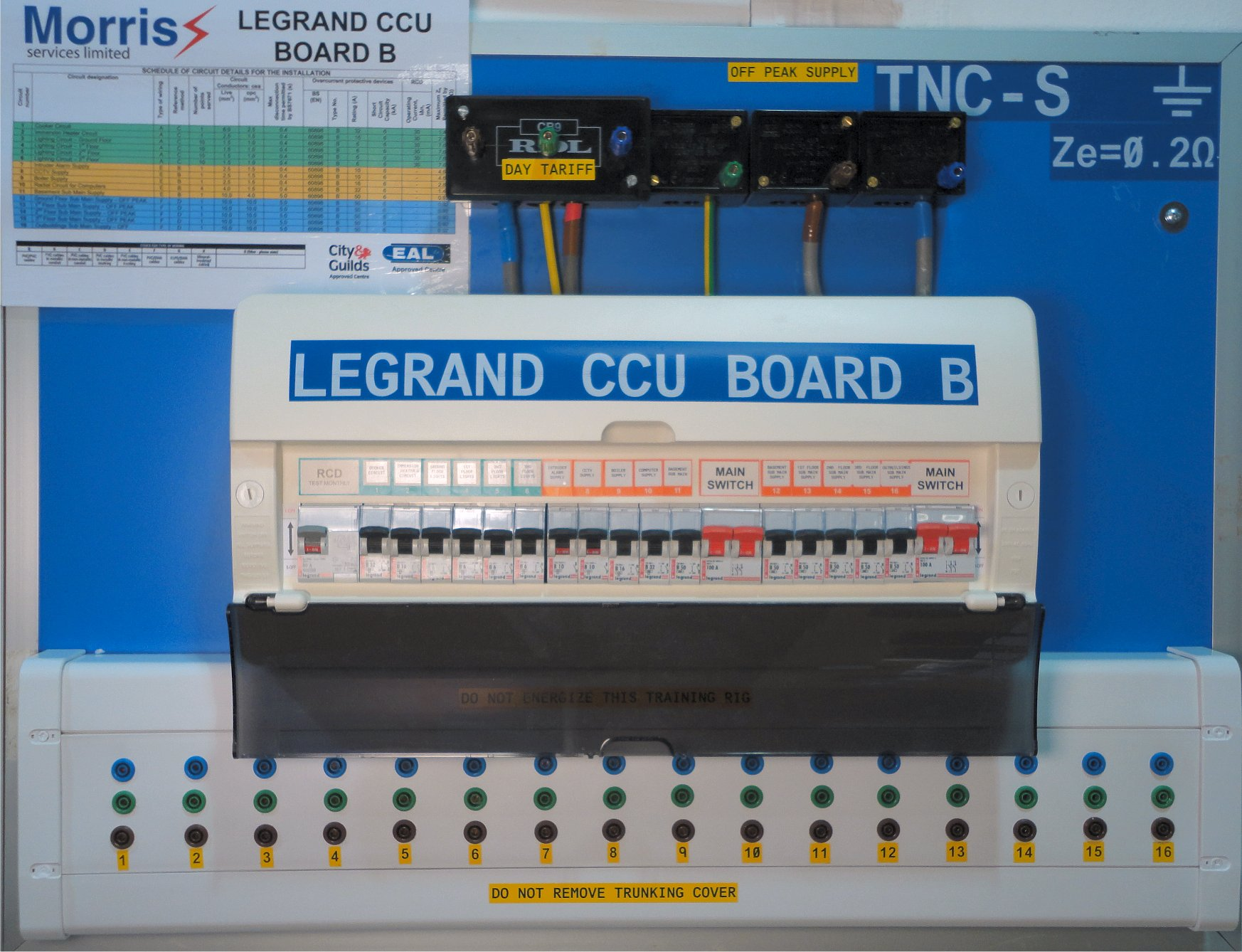 Legrand CCU Board B is used at Morris Services Limited to provide practical training and verification of earth fault loop impedance of final circuits and R1 + R2 measurred valueds on the City & Guilds 2394-01 Level 3 Initial Verification Course and the new EAL 7695 Level 3 Electrical Qualiifed Supervisors course.
